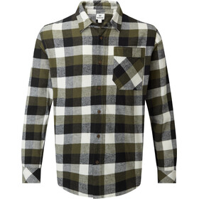 tentree Benson Flannel LS Shirt Men olive night green campfire plaid